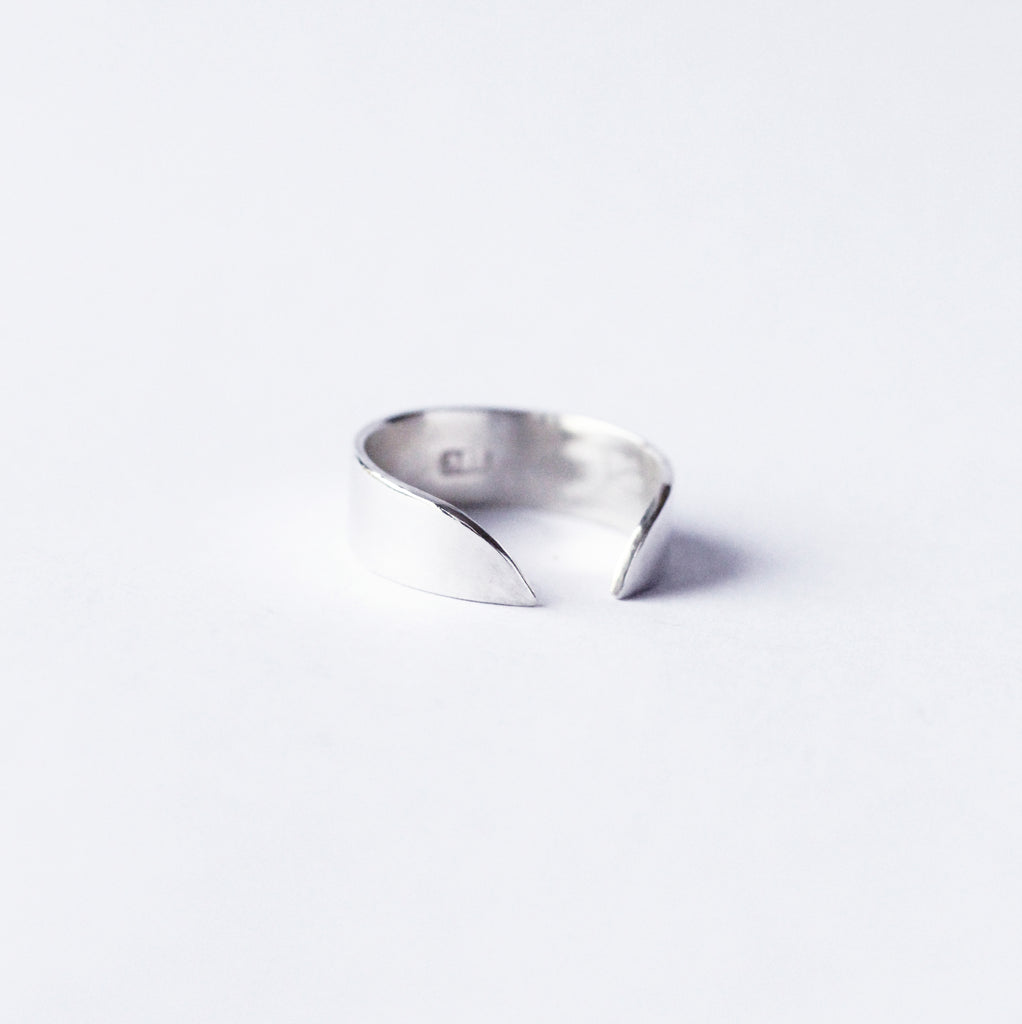 Thor ring from M of Copenhagen made from recycled silver on white background