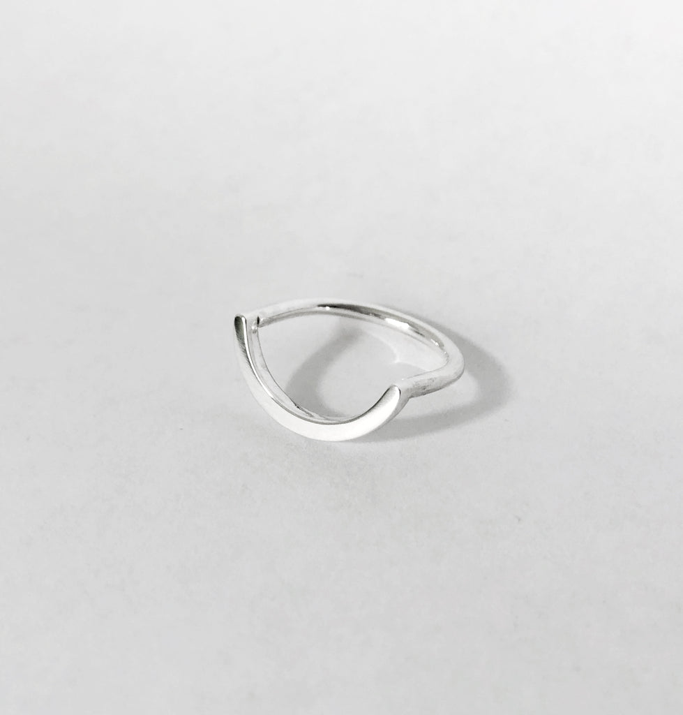 Uno unisex curved U shaped ring in recycled silver by M ofCopenhagen