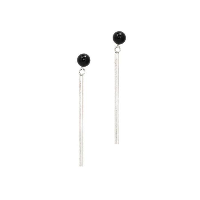 Vienna earrings by M of Copenhagen made with recycled silver and natural onyx beads
