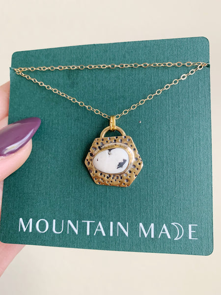 Brass + Goldfilled Stamped White Buffalo Pendant