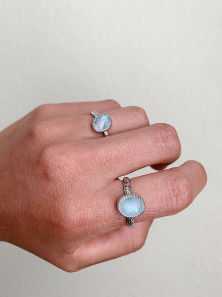 Moonstone + textured band