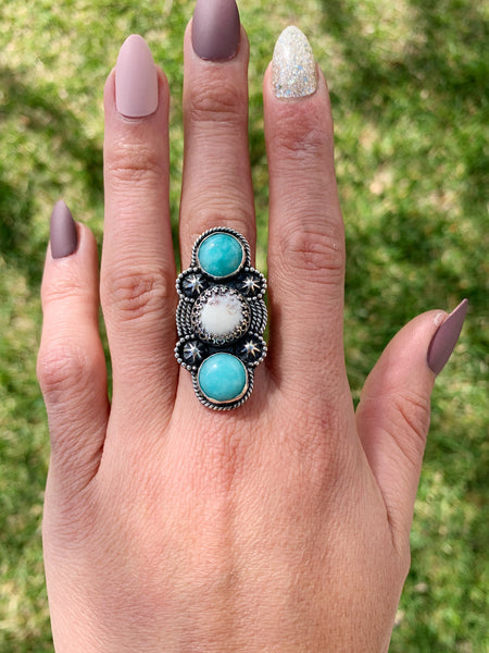 White buffalo Turquoise + amazonite  - SIZE 6