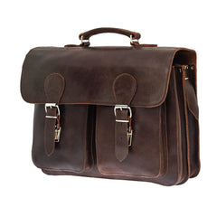 Blaxton - Brown Leather Large Satchel | Messenger Bag