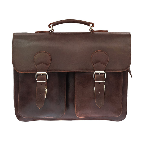 Blaxton - Brown Leather Large Messenger Bag | Satchel