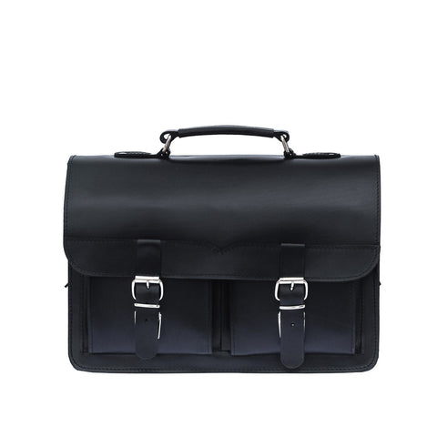 Black Leather Satchel from Blaxton