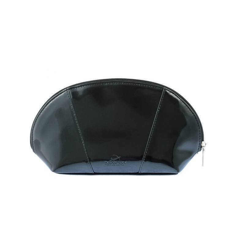 Genuine black leather make-up case