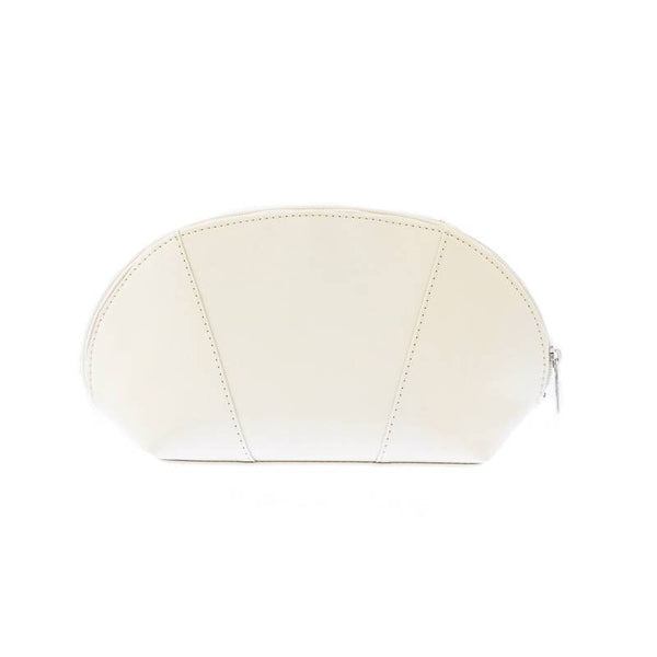 Genuine off white leather make-up case