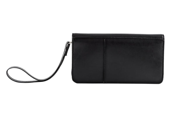 Black Leather Travel Organiser with Wrist Strap