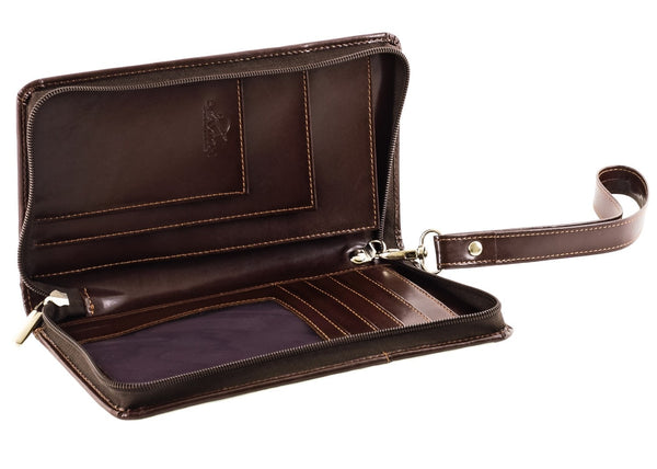 The Halvar - Dark Brown Travel Organiser with Wirst Strap