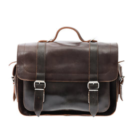 Dark Brown Leather Satchel Messenger Bag