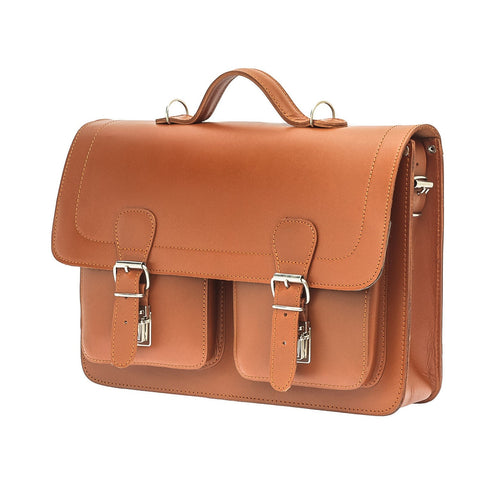 The Bossa  - 15 Inch Natural Leather Satchel Bag | Backpack