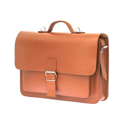Orange Brown Leather Large Satchel Bag Backpack