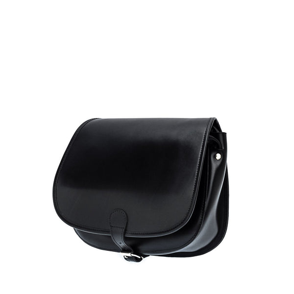 The Bea  - 11 Inch Black Leather Saddle Bag | Hunters Bag