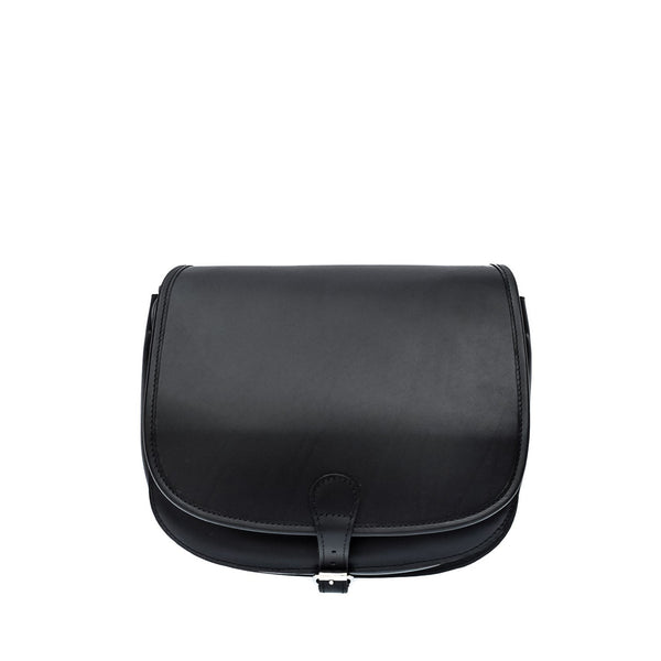 Black Leather Satchel Saddle Hunters Bag