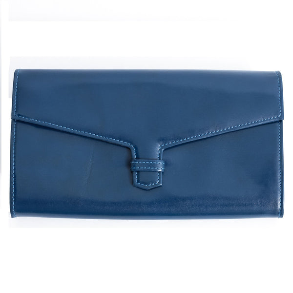 Genine Leather Travel Wallet Blue