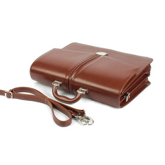 The Kendrick - 16 Inch Leather Large Cognac Briefcase - Blaxton