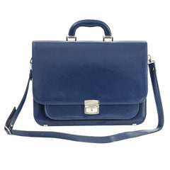 Navy Leather Small Briefcase