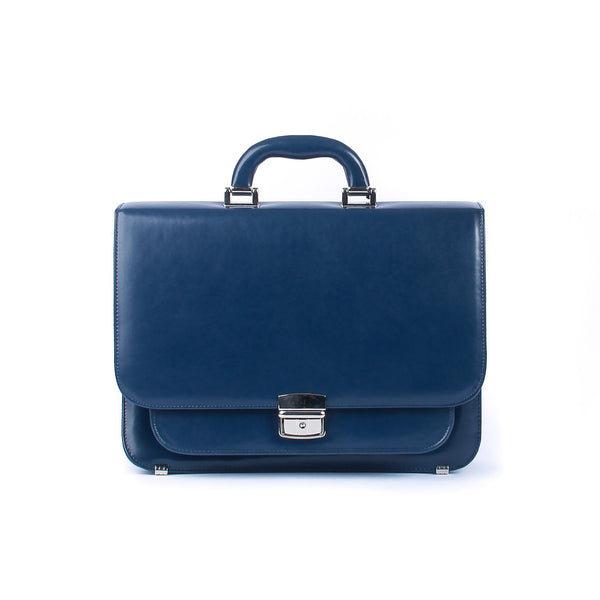 The Nelle - 13 Inch Blue Leather Small Briefcase - Blaxton