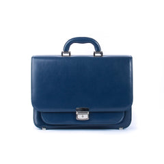 Blue Leather Small Briefcase - Blaxton