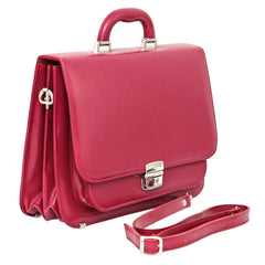 Fuxia Leather Small Briefcase - Blaxton