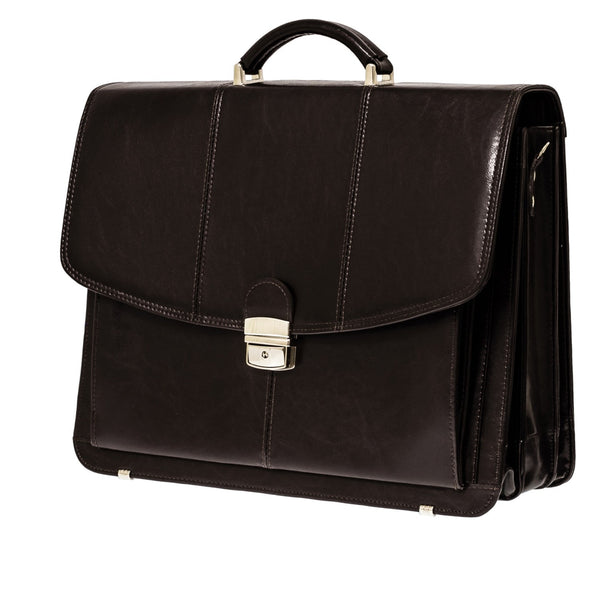 The Barrick - 16 Inch Leather Business Briefcase - Laptop Bag