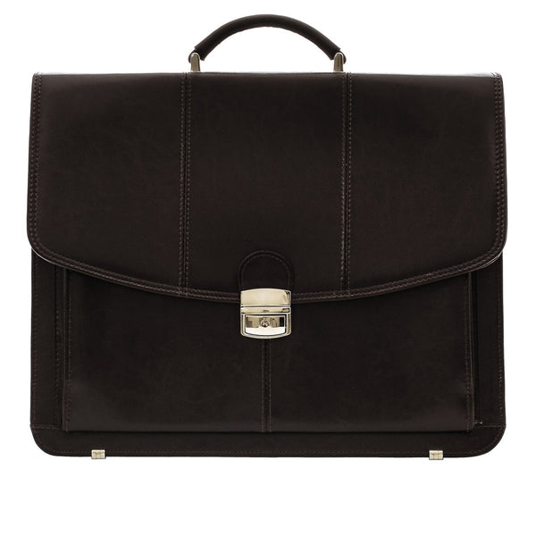 The Barrick - 16 Inch Leather Business Briefcase - Laptop Bag - Blaxton