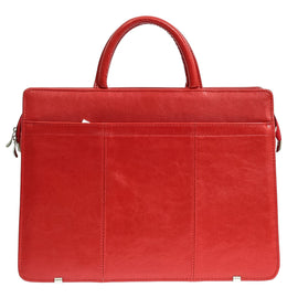 Red Leather Woman Work Handbag