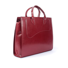Ladies Leather Smart Handbag in Cherry Colour