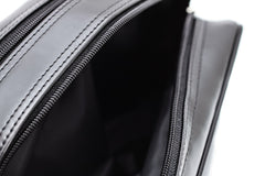 Black Leather Mens Toiletry Bag