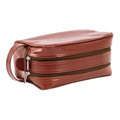 Blaxton Cognac Leather Mens Toiletry Bag