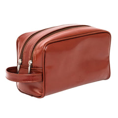 Blaxton Light Brown Leather Mens Toiletry Bag