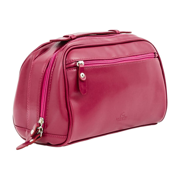 The Fonda - Dark Pink Leather Ladies Cosmetic Case
