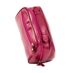 The Fonda - Dark Pink Leather Ladies Cosmetic Case - Blaxton