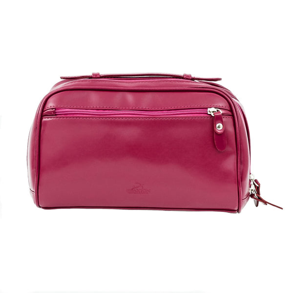 Dark Pink Leather Cosmetic Case