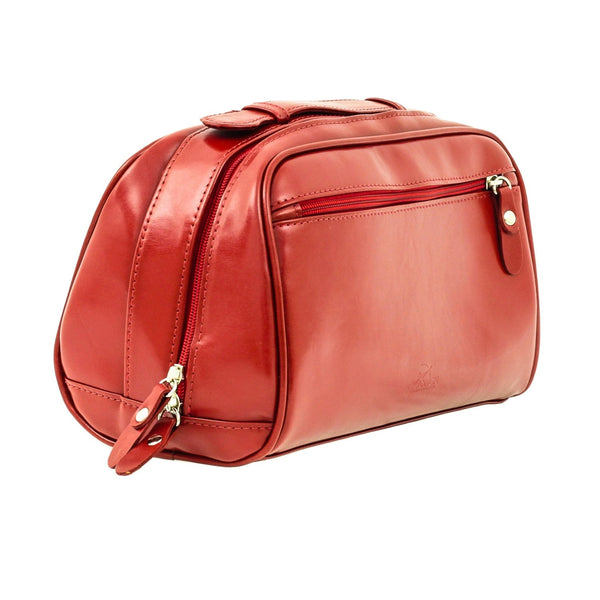 The Fonda - Red Leather Ladies Cosmetic Case