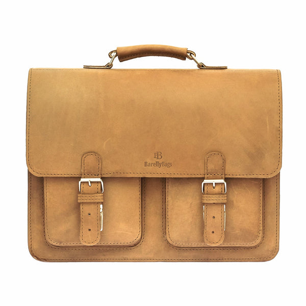 Brown Waxed Leather Satchel Briefcase