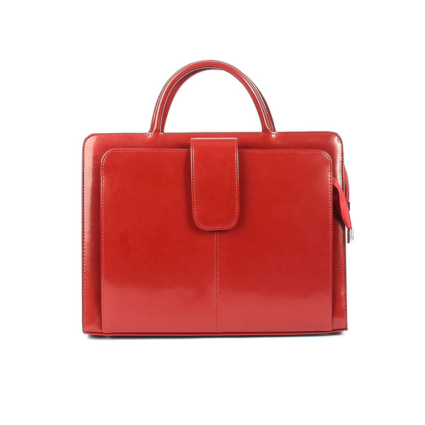 The Suelee 14 Inch Lacquered Red Leather Ladies Briefcase Style Handbag