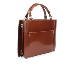 The Pearle 14 Inch Genuine Lacquered Cognac Leather Ladies Briefcase Style Handbag