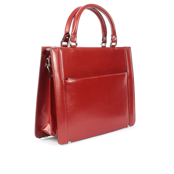 89034c925326 ... The Pearle 14 Inch Genuine Red Leather Ladies Briefcase Style Handbag