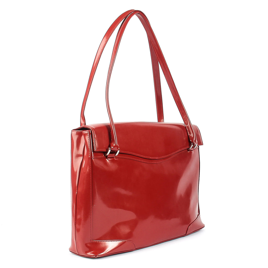 71b7dc6a4297 The Hollis 16 Inch Genuine Red Lacquered Leather Ladies Tote Work ...