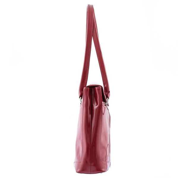 The Hollis 16 Inch Genuine Red Lacquered Leather Ladies Tote Work Bag