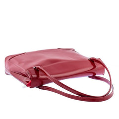 Ladies Leather Smart Work Tote Bag in Shiny Red Colour