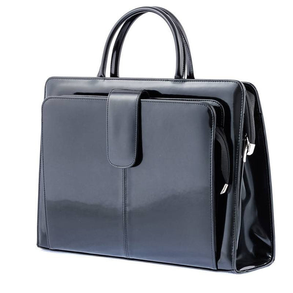 The Suellen 16 Inch Lacquered Black Leather Ladies Briefcase Bag