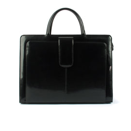 Black Lacquered Leather Ladies Handbag