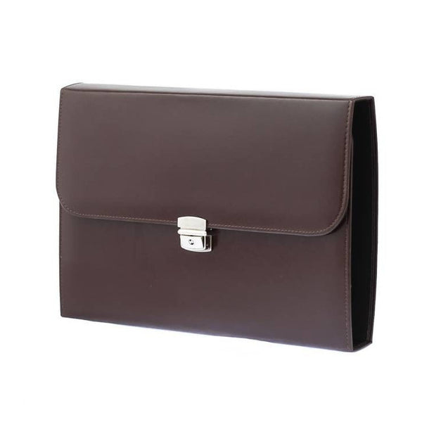 Brown Leather Conference Folio with Ring-Binder