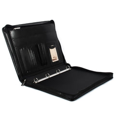 Black Leather Conference Folder with Ring-Binder