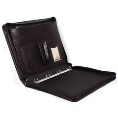 Brown Leather Conference Folder with Ring-Binder