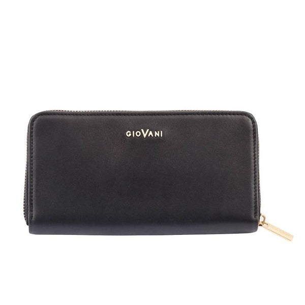 Giovani Calfskin Italian Leather Ladies Zipped Purse - Blaxton