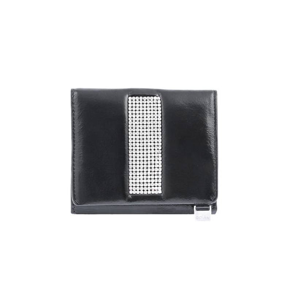 Black leather ladies purse with Swarovski crystals