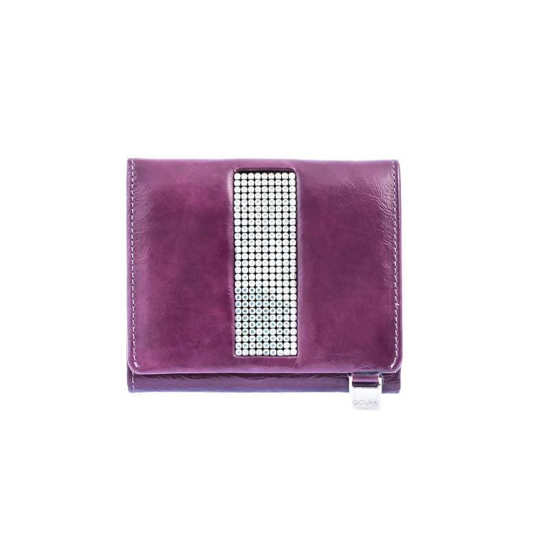 Italian Purple Leather Ladies Purse With Swarovski Crystals